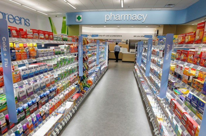 Cold and flu products are pictured on shelving at grand opening of drugstore chain Walgreens newest flagship store in Hollywood